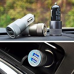 PRAVARA Universal Twin 2 Port USB Dual Car Charger Dock Adapter Cigarette Socket Lighter Alloy Bullet Charger 2.1 Amp / 1 Amp