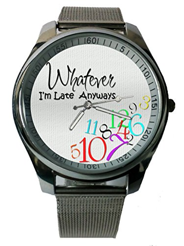 For Ladies White Quoetes Time Late Whatever Anyways Custom Image Snap On Watch Stainless Steel