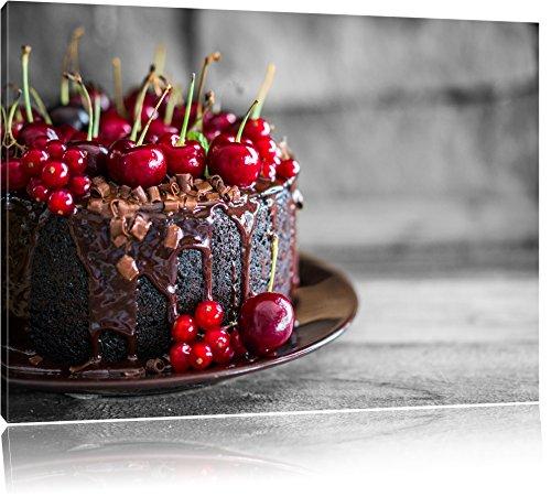 Heavenly gâteau au chocolat Noir / Blanc, Taille: 120x80 sur toile, XXL énormes Photos complètement encadrée avec civière, impression d'art sur murale avec cadre, moins cher que la peinture ou une peinture à l'huile, pas une affiche ou une bannière,