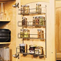 4 Tier Spice Rack 10-3/4 Inch Wide Frosted Nickel