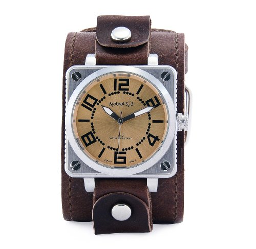 Nemesis Men's BLBB052G Signature Collection Yellow Heavy Metal Square Leather Band Watch