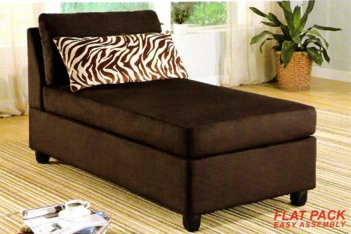 Microfiber Armless Chaise Lounge Chair With Pillow In Chocolate