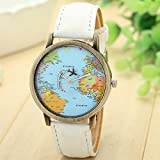 DDLBiz New Global Travel By Plane Map Women Dress Watch Denim Fabric Band (White)