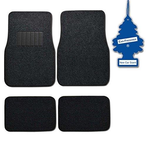 Bdk Dark Grey 4 Pc Universal Carpet Car Mats W/ Heel Pad + Little Tree New Car front-436115