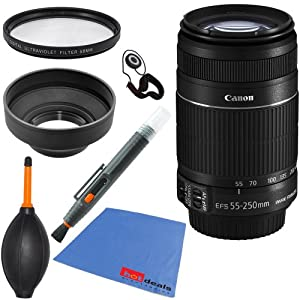 Canon EF-S 55-250mm f/4.0-5.6 IS II Telephoto Zoom Lens (Import) for Canon EOS 7D, 60D, 70D, Rebel SL1, T1i, T2i, T3, T3i, T4i, T5i, XS, XSi, XT, & XTi Digital SLR Cameras + 6pc Bundle Accessory Kit