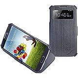 Manna Samsung Galaxy S4 Schutzhülle   PU faserverstärkt, Farbe grau, aufstellbar   mit Sichtfenster