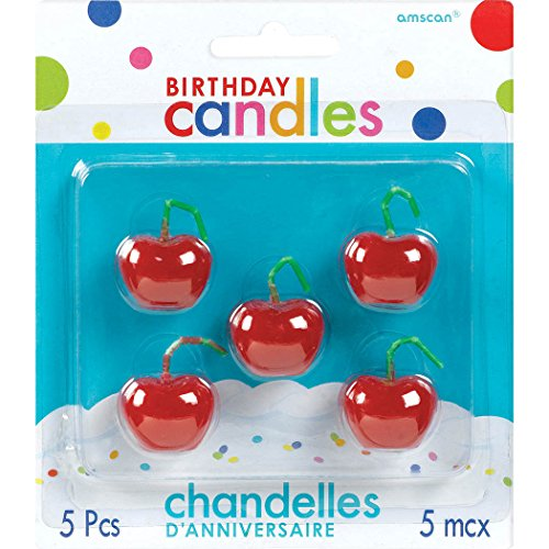 Amscan Cherry Birthday Candle Set, Red - 1