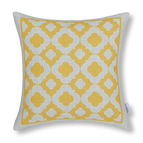 "Euphoria Home Decorative Cushion Covers Pillows Shell Cotton Linen Blend Cute Geometric Chain Design Yellow Color 18"" X 18"" front-788227"