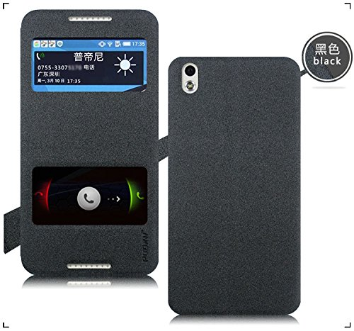 Original Pudini® Greyish Black Colour Double Window Flip Case For HTC Desire 816G 816 - Free Screen Guard