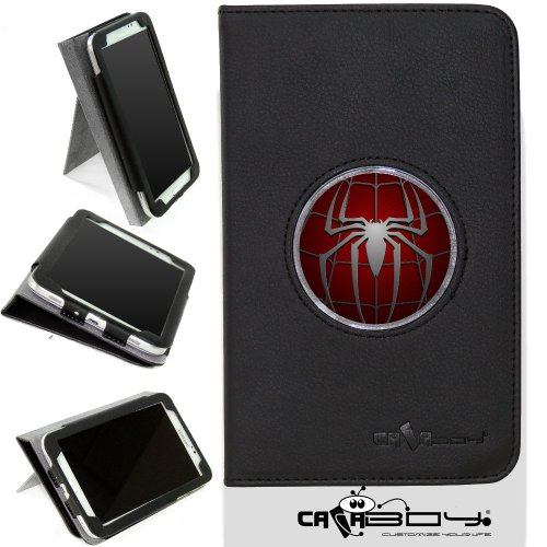 New Samsung Galaxy Tab 4 7 inch leather Case By Calaboy- Interchangeable Design - Personalized Picture Frame w spiderman Logo (c7)