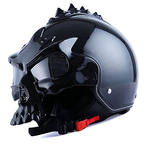 1STorm Motorcycle Street Bike Scooter Open Face Helmet; 3D Skull Glossy Black