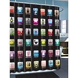 Splash Home PEVA Shower Curtain, 70 by 72-Inch, Ibath Multicolor