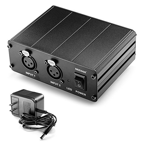 Neewer® 2-Channel 48V Phantom Power Supply with Power Adapter for Condenser Microphones, Transfer Sound Signal to External Sound Card (2 Channel Xlr Mixer compare prices)
