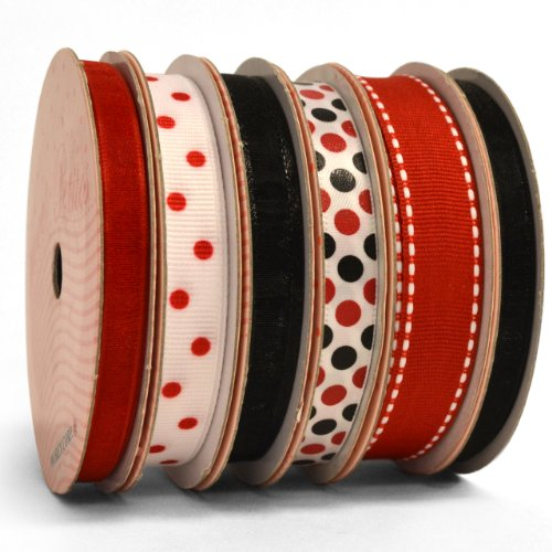 Sale!! Morex Ribbon 6-Pack Sweet Petite Ribbon, Red and Black