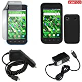Samsung Vibrant T959 Combo Solid Black Silicon Skin Case Faceplate Cover + LCD Screen Protector + Rapid Car Charger + Home Wall Charger for Samsung Vibrant T959