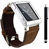 SQdeal® Collection iPod Nano 6th Gen Wrist Strap Watch Band Case w/ Adjustable length Function, with Touch Pen (Brown leather bracelet)