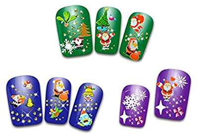 12 Sheet Christmas Snowflake Tree 3D Nail Art Sticker Decal Tips Decoration,Multi-color,One Size