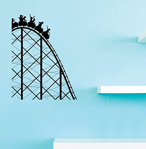 Design with Vinyl 1 Pro 39 Decor Item Roller coaster Amusement Park Fun Kids Carnival Wall Decal Peel and Stick Sticker Mural, 10 x 15-Inch