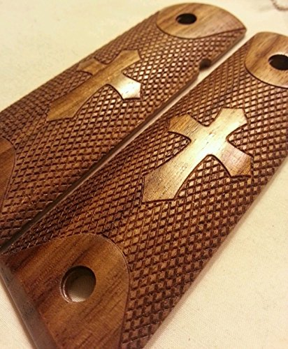 1911 Grips - Full Size - Govt - Commander - Walnut - Engraved Cross (1911 Bushing Compensator compare prices)