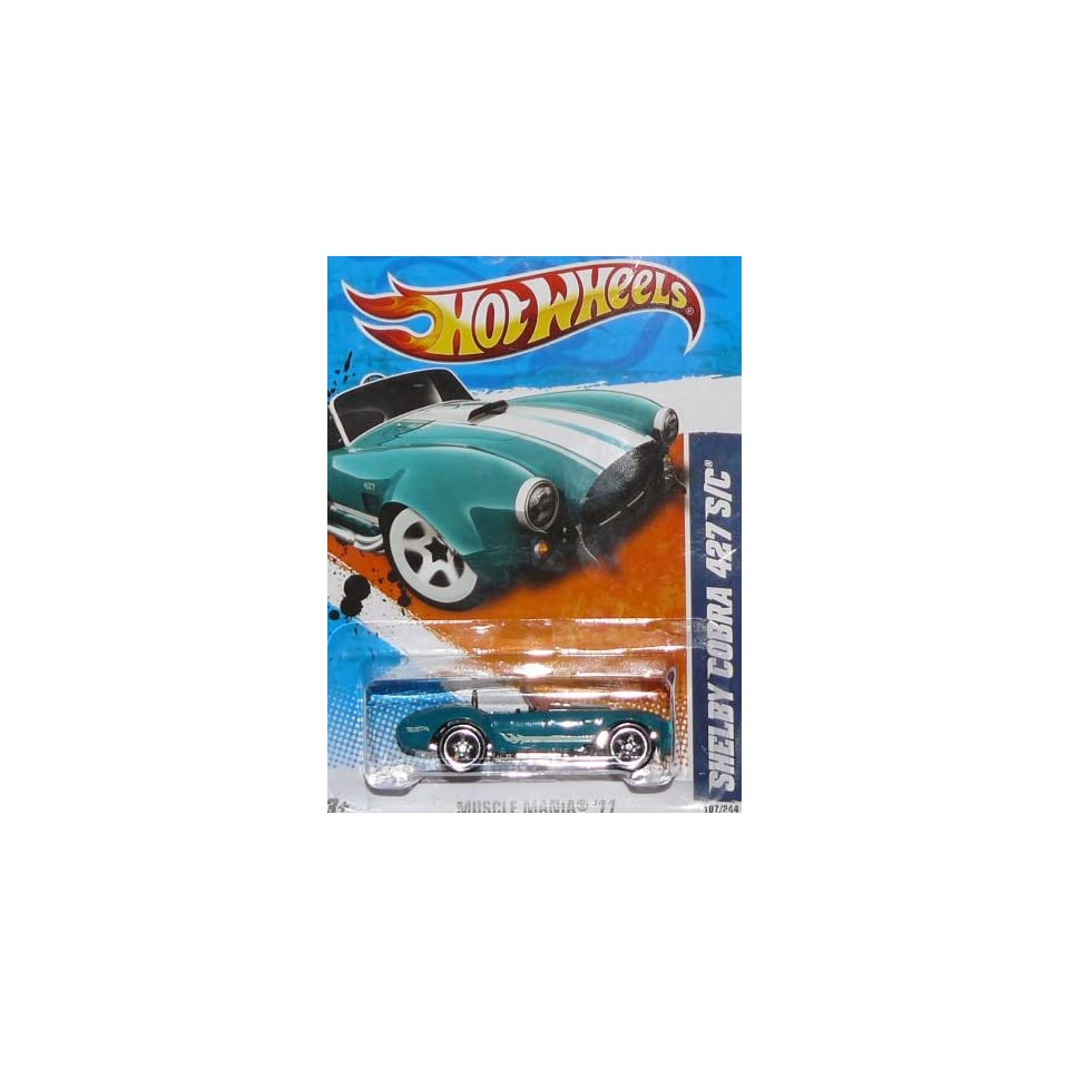 Hot Wheels Die Cast Toy 2011 Muscle Mania Shelby Cobra 427 S/C #107 Color Variant Aqua with Mint Green Stripes Five Spoke Silver Rims