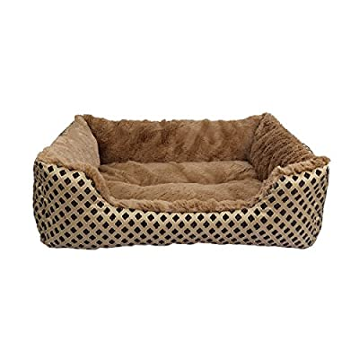 Pet Bed, SymbolLife Soft Washable Dog Cat Pet Warm Basket Bed Cushion with Fleece Lining Rectangle Pet Bed All Season All Weather Pet Bed Three Sizes to Fit Most Pets