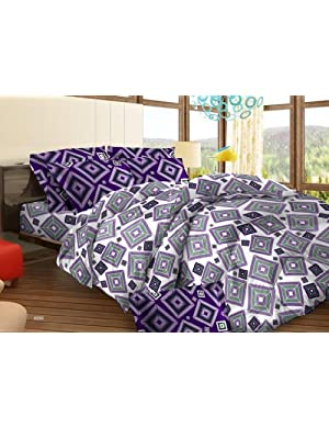Bombay Dyeing Tuberose Cotton Double Bedsheet with 2 Pillow Covers - Magenta (05688603)