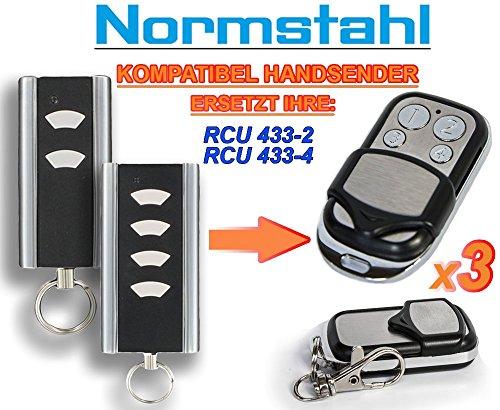 3 X NORMSTAHL RCU433-2, RCU433-4 Kompatibel Handsender, 433.92Mhz rolling code keyfob