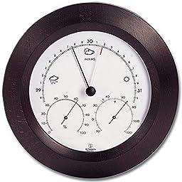 Weather Station - Analog - Barometer - Thermometer - Hygrometer - 8 in. Round - Mahogany