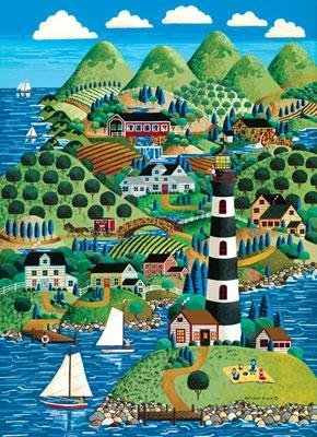 "Jigsaw Puzzle Collectible Tin 1000 Pieces 19.25""X26.75""-Scenic Route-Lighthouse Island - 1"
