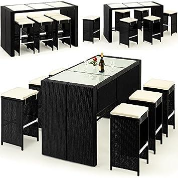Bar de jardin 13 pièces en polyrotin incl. coussins - noir/crème