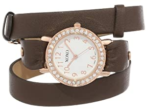 Xoxo Watch Double Wrap Bezel Brown Rhinestones Women's Xo5615 lcFT1KJ