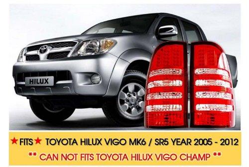 Red - White Lens Tail Light Rear Lamp Led Toyota Hilux Vigo Mk6 Sr5 Ute 05 - 12
