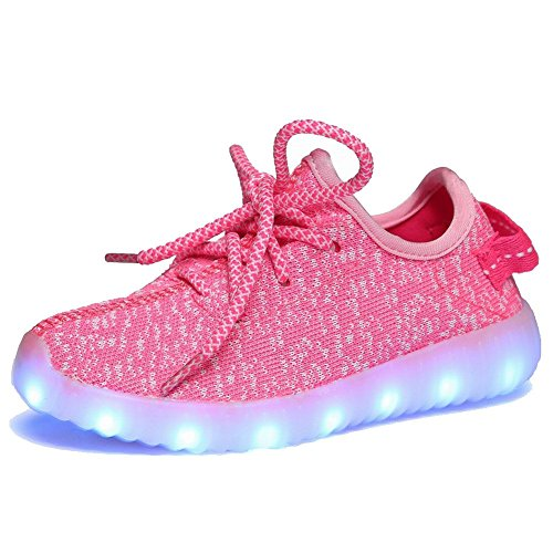 Cayanland 11 Colors Modes Kids' LED Light Up Shoes Kids Fashion Sneakers Sports Loafers£¬15,Pink38