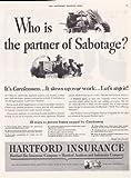 Hartford Insurance The Partner Of Sabotage 1942 Vintage Antique Advertisement