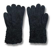 Cejon Womens Wrist Length Chenille Stretch Winter Gloves - One Size - Black