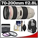 Canon EF 70-200mm f/2.8L USM Zoom Lens with 3 UV/FLD/CPL Filters + Backpack + Cleaning Kit for Digital SLR Cameras