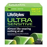 Lifestyles Ultra Sensitive Condoms, 40-count