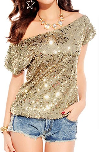 made2envy Off-shoulder Glistening Sequin Cocktail Club Party Top