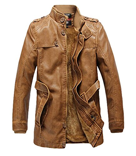 Men's fashion plus-Giacca in velluto, spessore leather jacket Coat pelle PU earth Yellow Medium