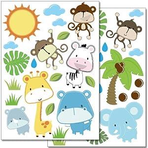 Pegatinas para la pared Wandkings «Safari bebés» - Juego de adhesivos de 40 unidades en 2 hojas DIN A4