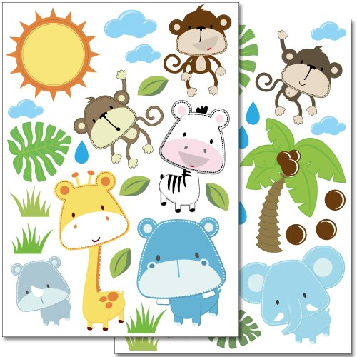 Wandkings wall stickers Baby Safari Animals Sticker Set - 40 stickers on 2 US letter sheets (each 8.3 x 11.7 inch)