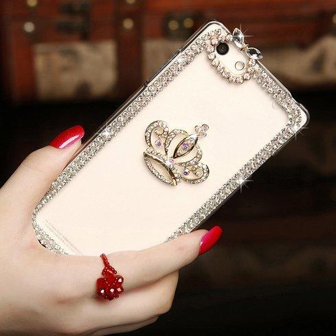 Iphone 6 Plus [5.5] 3d Handmade Clear Bling Crystal Rhinestone Diamond Skin Case Cover(crown)