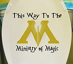 GMDdecals® Harry Potter Ministry of Magic Bathroom Toilet Vinyl Wall Decor Decals [GLOSSY BLACK/GOLD]- 10\