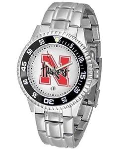 Nebraska Competitor Mens Steel Band Watch by SunTime