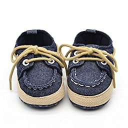 Voberry® Newborn Baby Boys\' Premium Soft Sole Infant Prewalker Toddler Sneaker Shoes (0~6 Month, Dark Blue)