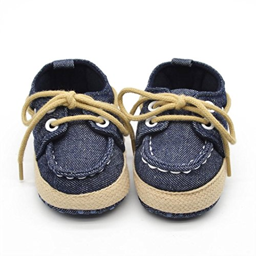 Voberry® Newborn Baby Boys' Premium Soft Sole Infant Prewalker Toddler Sneaker Shoes (12~18 Month, Dark Blue) (Baby Shoes For Boys compare prices)