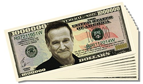 Robin Williams Commemorative Million Dollar Bill - 25 Count with Bonus Clear Protector & Christopher Columbus Bill
