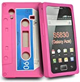 Pink Cassette silicone case cover pouch for Samsung galaxy ace S5830