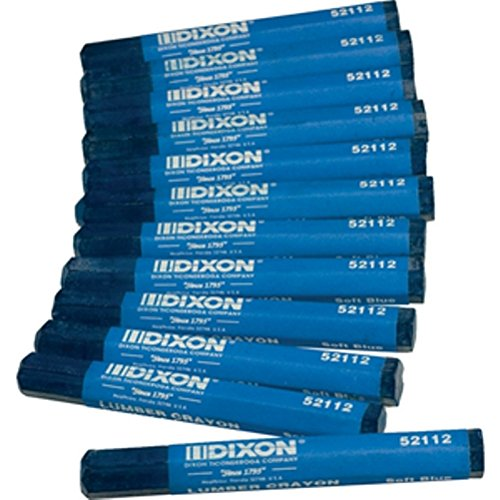 """Dixon 52112 Lumber Marking Crayons, Soft Blue, 4-1/2 x 1/2"""" Hex, Pack of 12"""