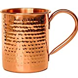 Melange Set of 2 Copper Classic Mug for Moscow Mules - 16 oz - 100% Pure Hammered Copper - Heavy Gauge - No lining - Includes FREE Recipe book